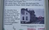 Informationstavla på bangården i Sävsjöström 2009-08-29