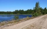 Järnvägsbank över Hunnevik i sjön Vidöstern 2013-07-20