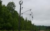 Kvarvarande elstolpe från elledning till järnvägen, 2013-06-22