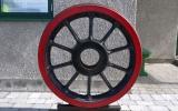 Löphjul till ånglok vid Falsterbo station 2014-04-18