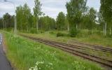 Spåren mot Hultsfred åt vänster och mot Vimmerby uppåt i bild 2012-05-26