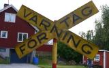 Järnvägsskylt i Lerbäcks hembygdspark 2014-06-22